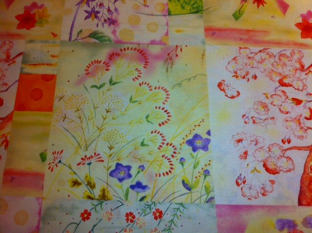 Floral Asian Squares yellow purple orange Asian Script N174