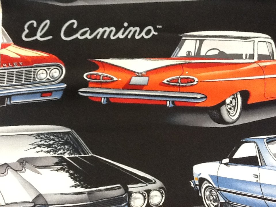 El Camino Chevrolet Sports Car Hot Rod Chevy Retro Muscle Cars Cotton Fabric Quilt Fabric SALE! $10.99/yd  N93