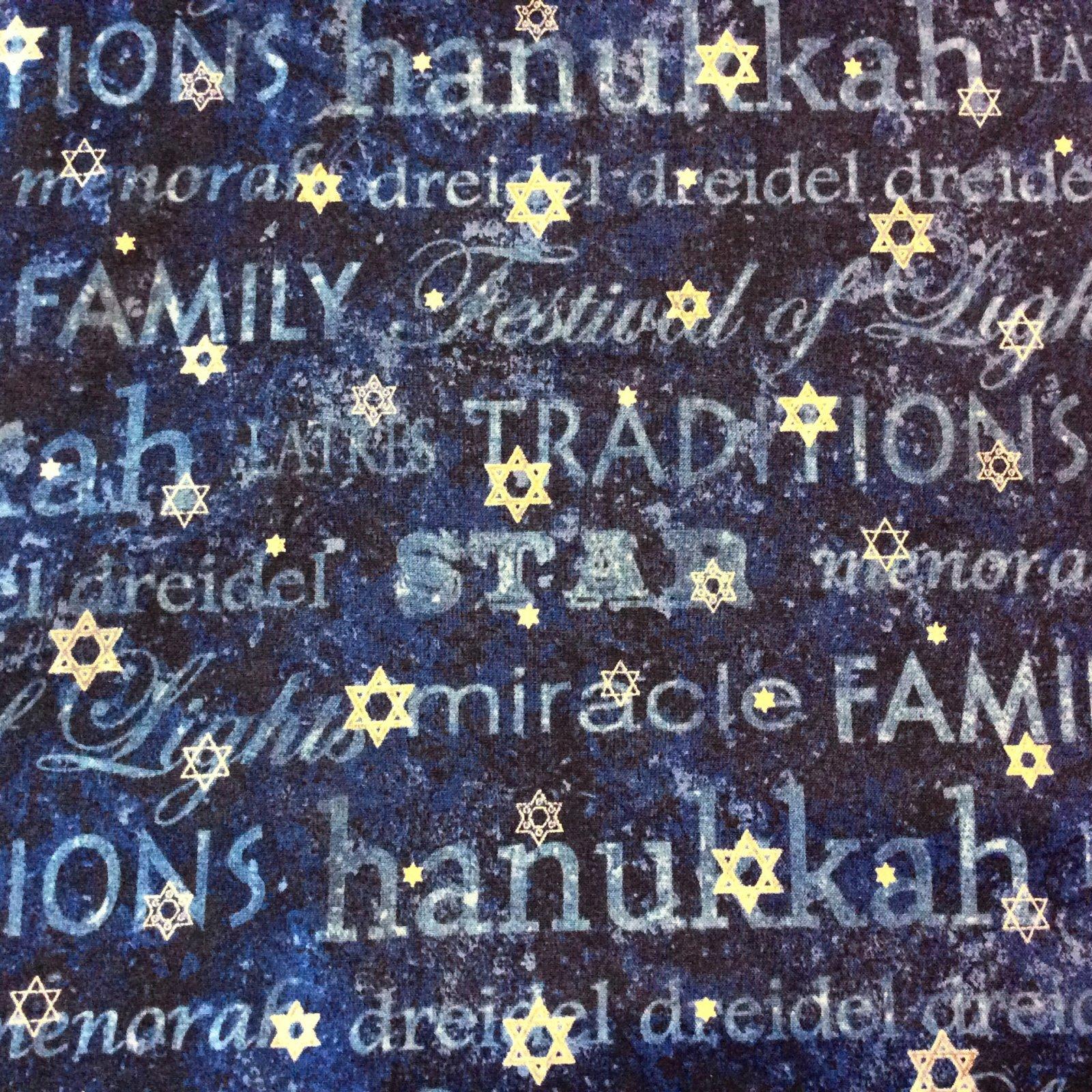 NC07 Hanukkah Star of David Winter Holiday Menorah Religious ... : religious quilting fabric - Adamdwight.com