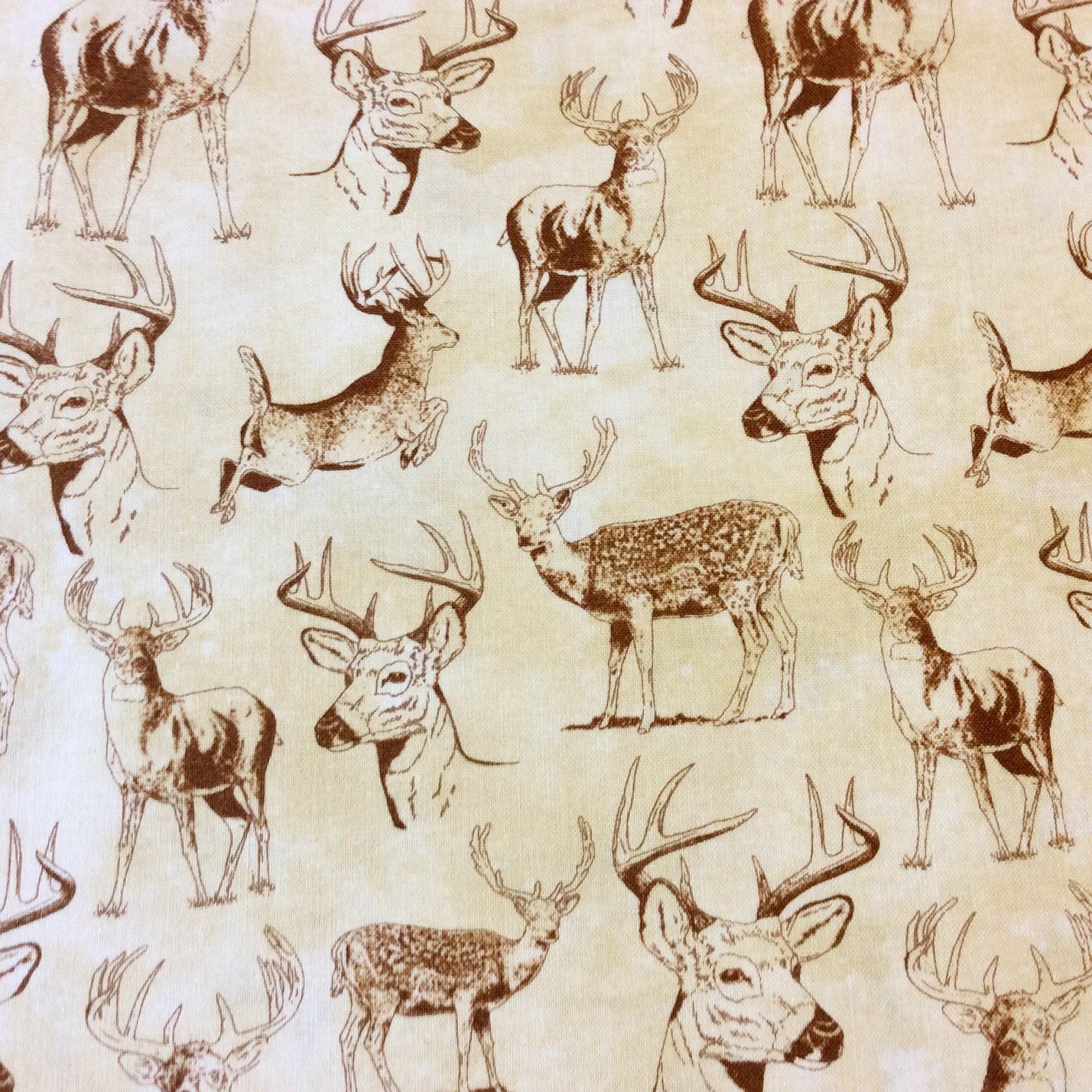 Deer Forest Nature Woods Hunting Hunter Antler Game Cotton Quilt Fabric NC09