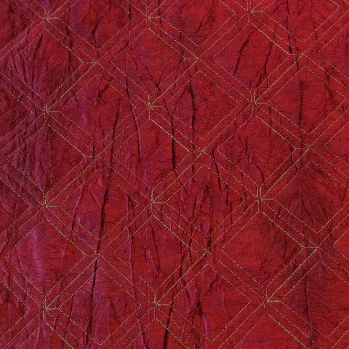 Red Diamond Stitched Quilted 100% Silk Fabric Home Dec Fabric NL025