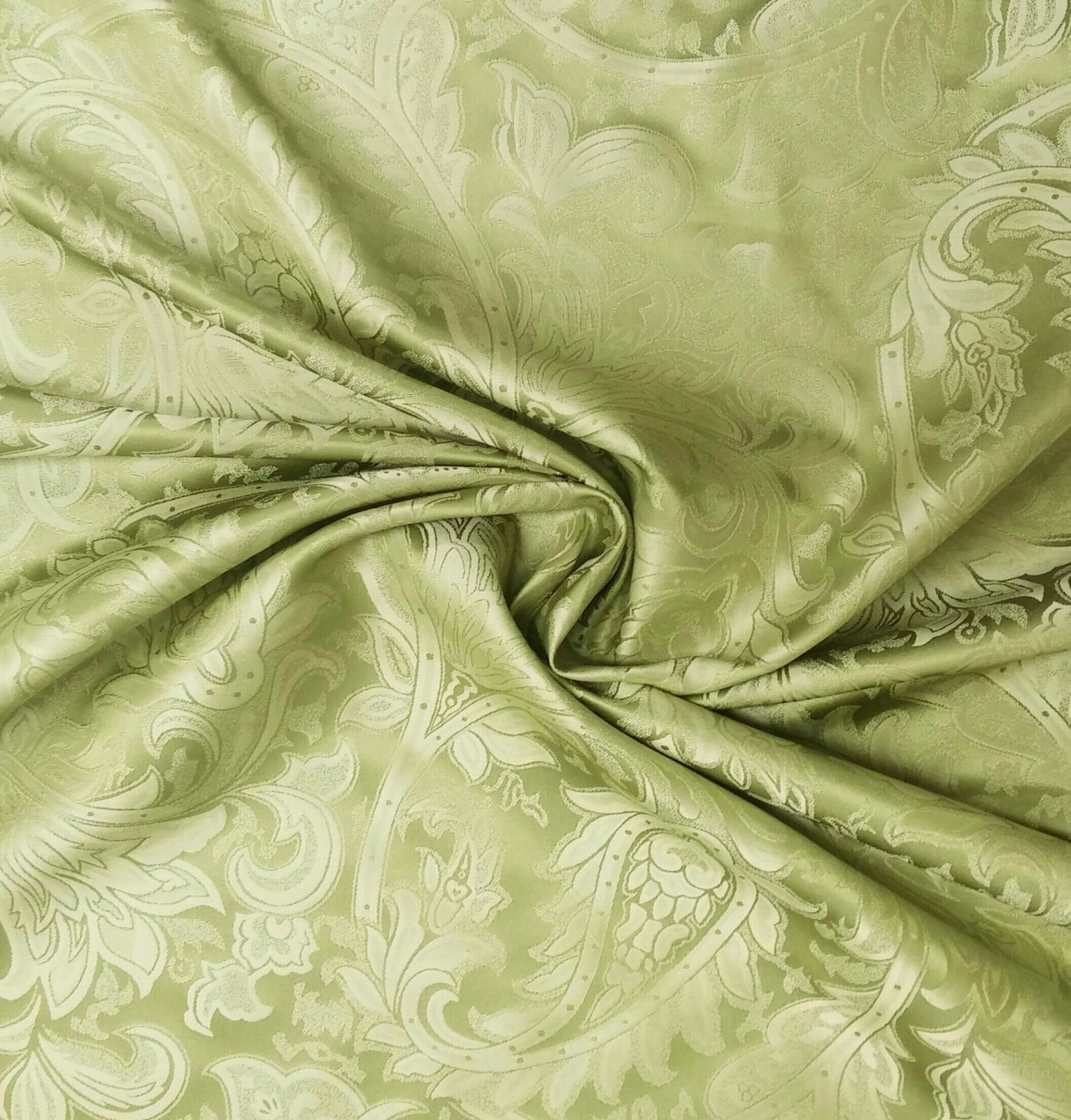 NL047 Green Silk Leaf Damask Nature Floral Paisley Drapery Home Dec Fabric