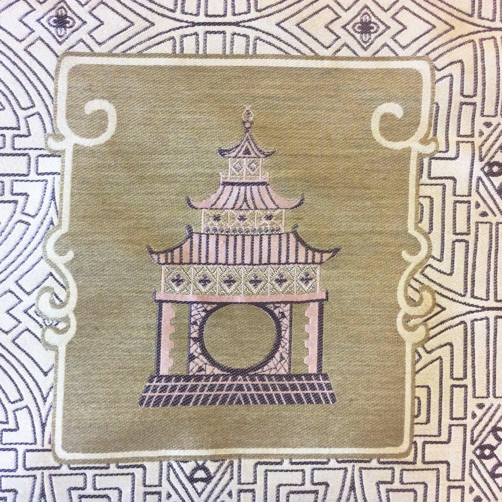 Asian Pagoda China Beautiful Asian Woven Tapestry Upholstery Home Decor Fabric NL059