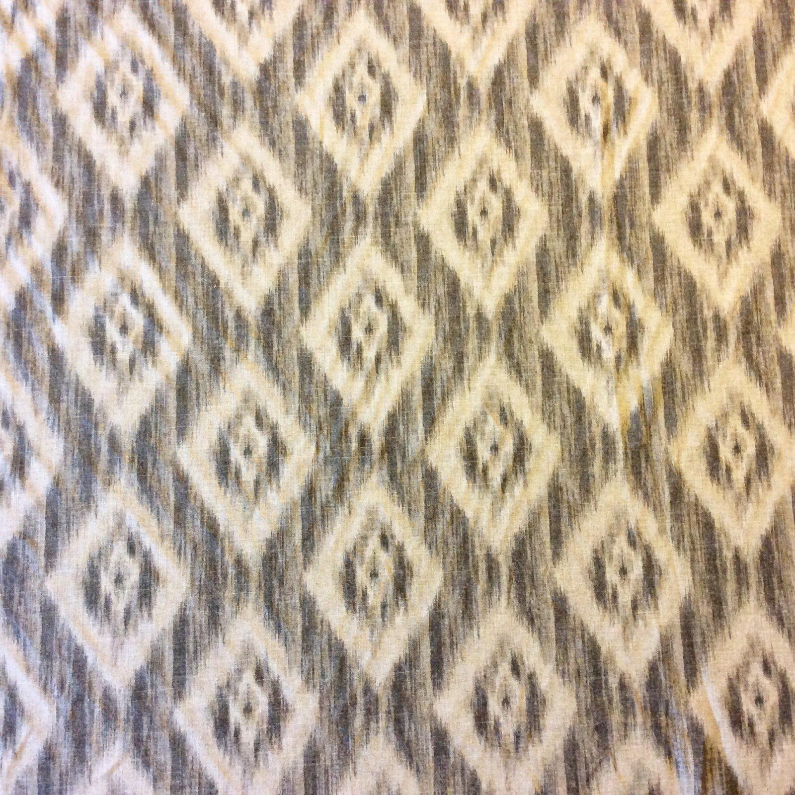 Neutral Ikat Diamond Geo Geometric Upholstery Drapery Home Decor Fabric NL070