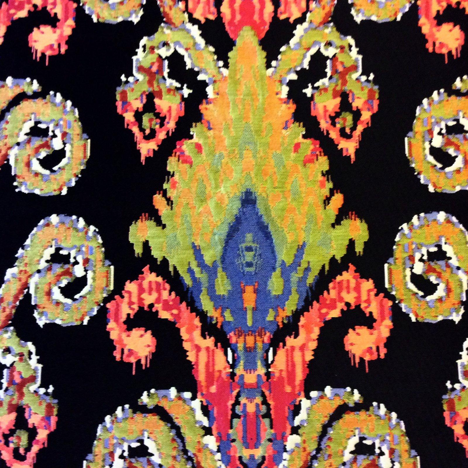 Beautiful Bright Danish Woven Ikat Black Bold Upholstery Home Decor Fabric NL220
