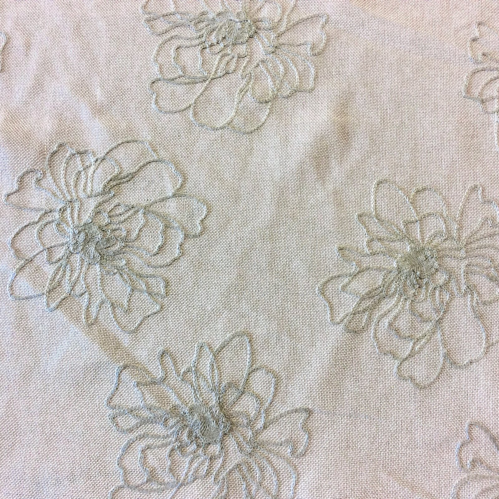Nl221 Fl Embroidered Semi Sheer Light Weight Drapery Home Decor Fabric