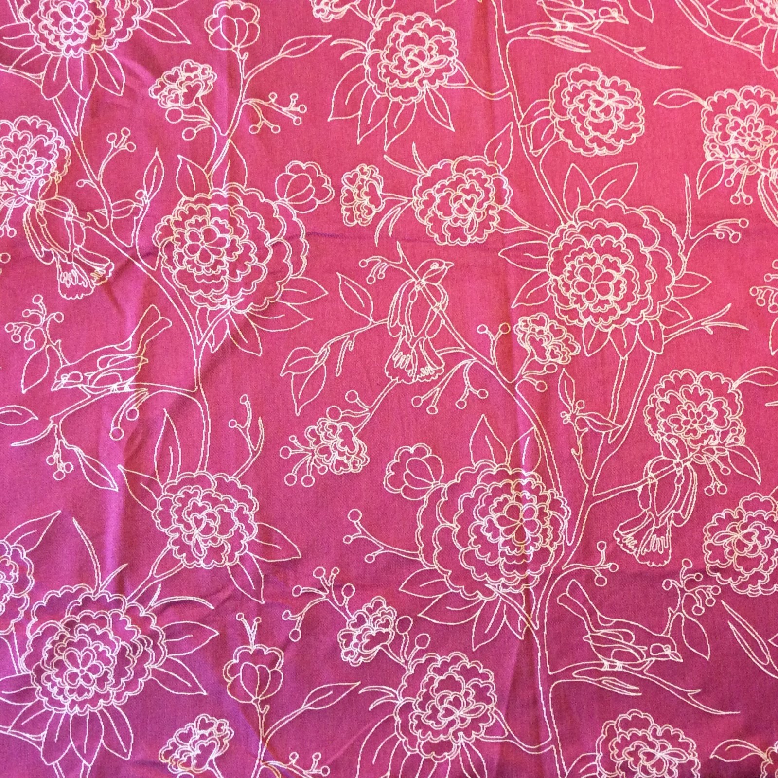 98 Pink Home Decor Fabric Nl223 Hot Pink Embroidered Sparrows