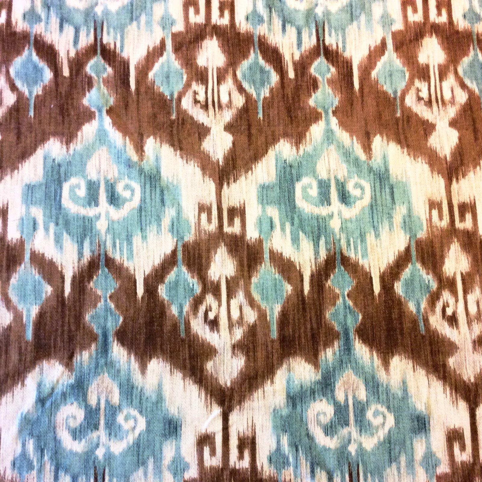 NL227 Brown & Blue Woven Ikat Geometric Geo Heavy Upholstery Home Decor Fabric