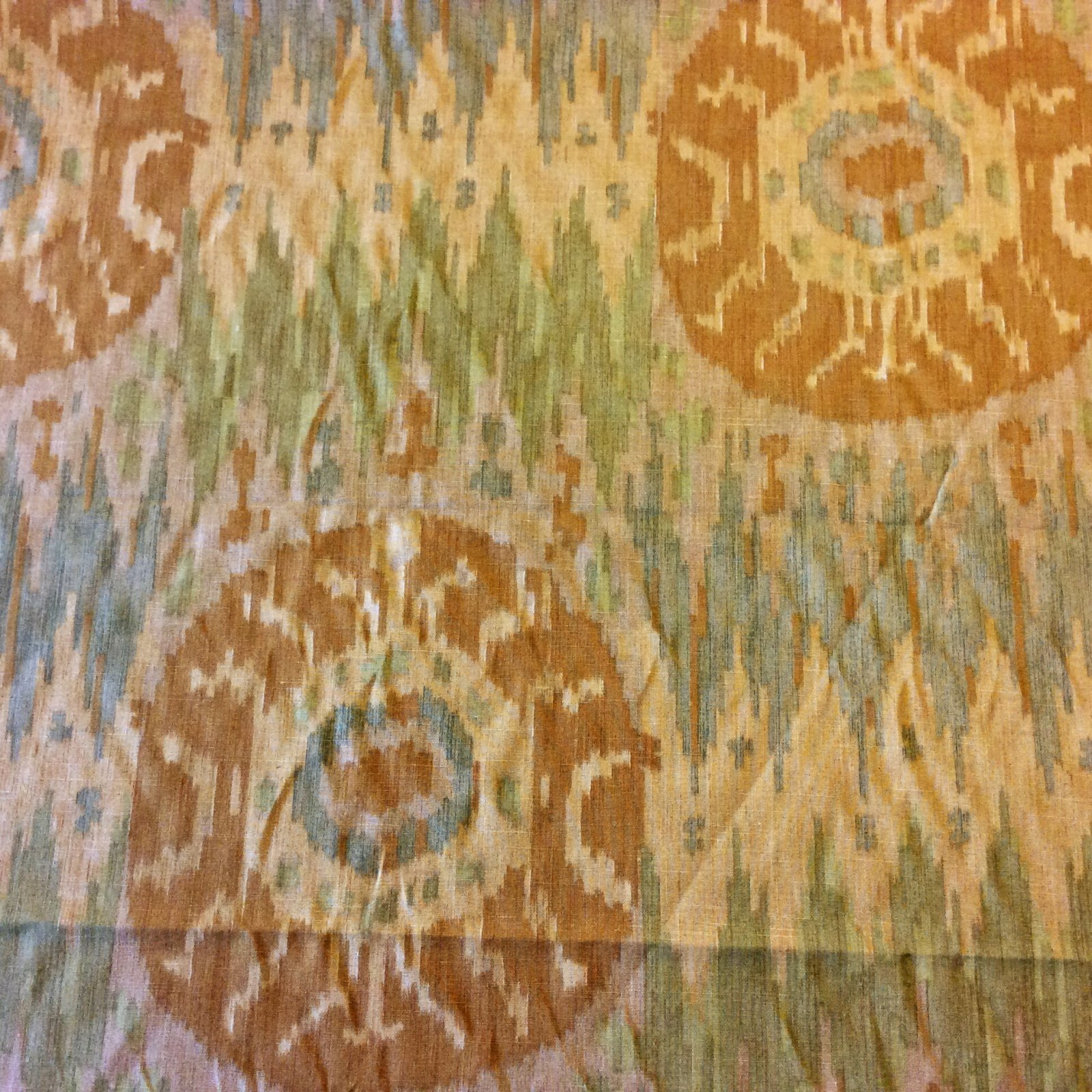 NL231 Earth Tone Ikat Suzani Medallion Southwest Geometric Geo Drapery Home Dec Fabric