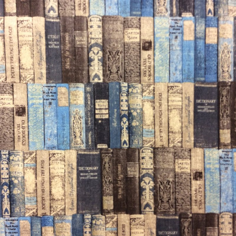 Gentlemen's Club Collection Library Books Book Worm Reading Vintage Blue Quilt Cotton Quilting Fabric NM04