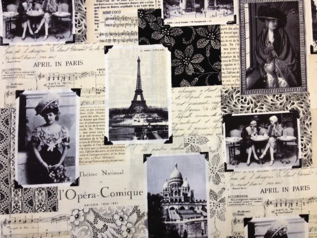 French Paris Eiffel Tower Script Newspaper Vintage Sheet Music Collage Black And White Cotton Quilting Fabric CR275