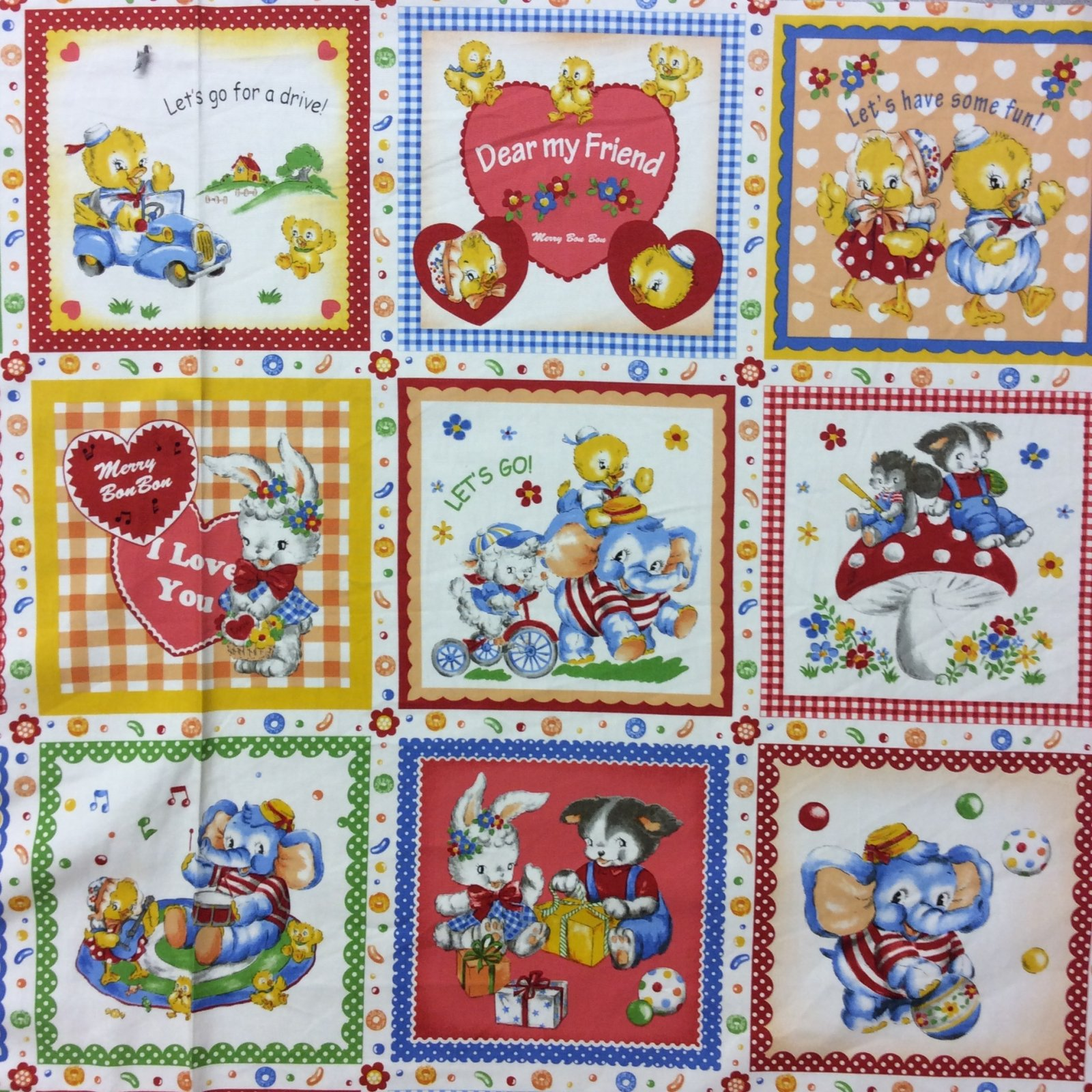 NT01 PNL82 Cute Animals Playing Games Children Kids Canvas Weight Cotton Fabric Panel