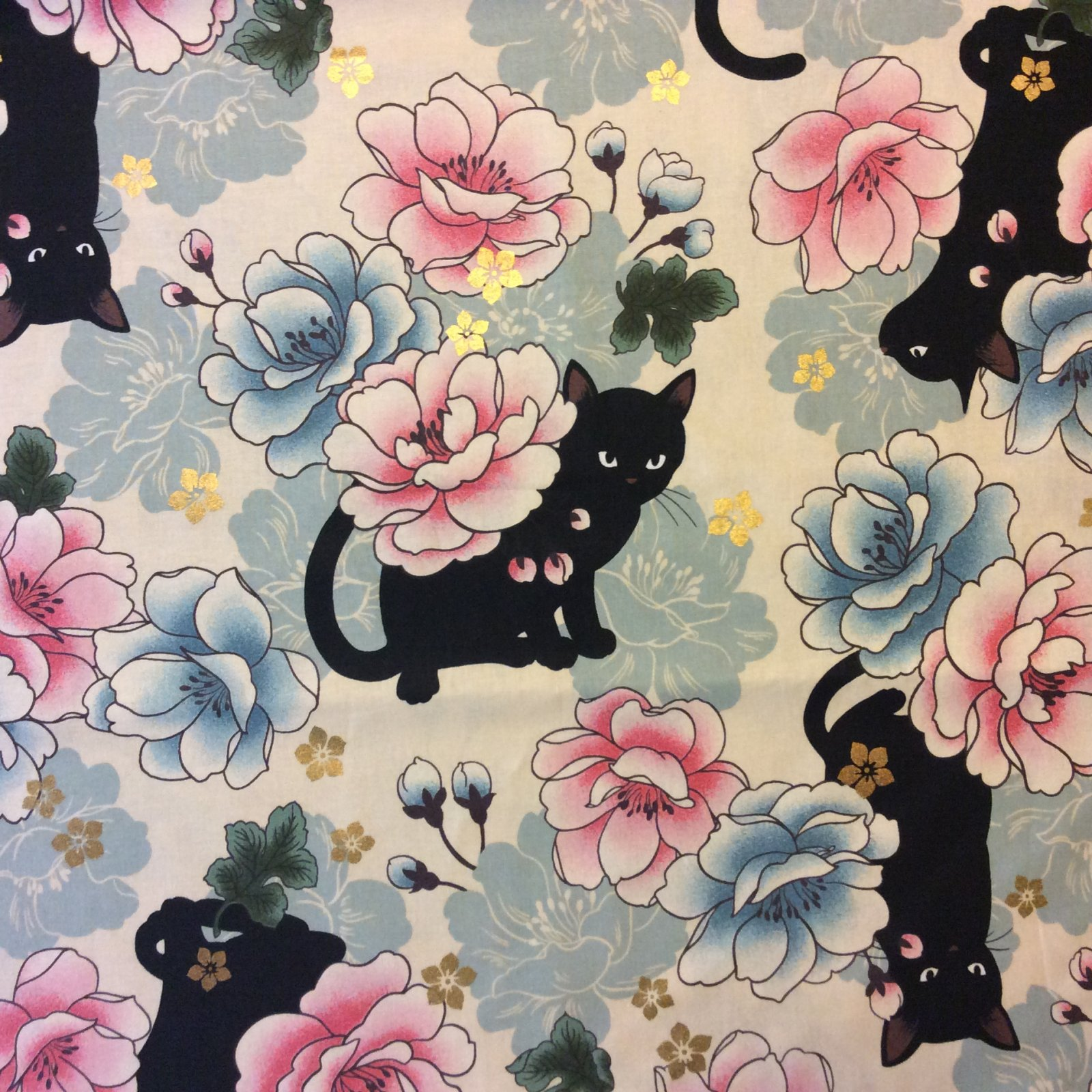 Neko Japanese Kitty Cat Asia Floral China Japan Kimono Quilting Cotton Fabric NT14