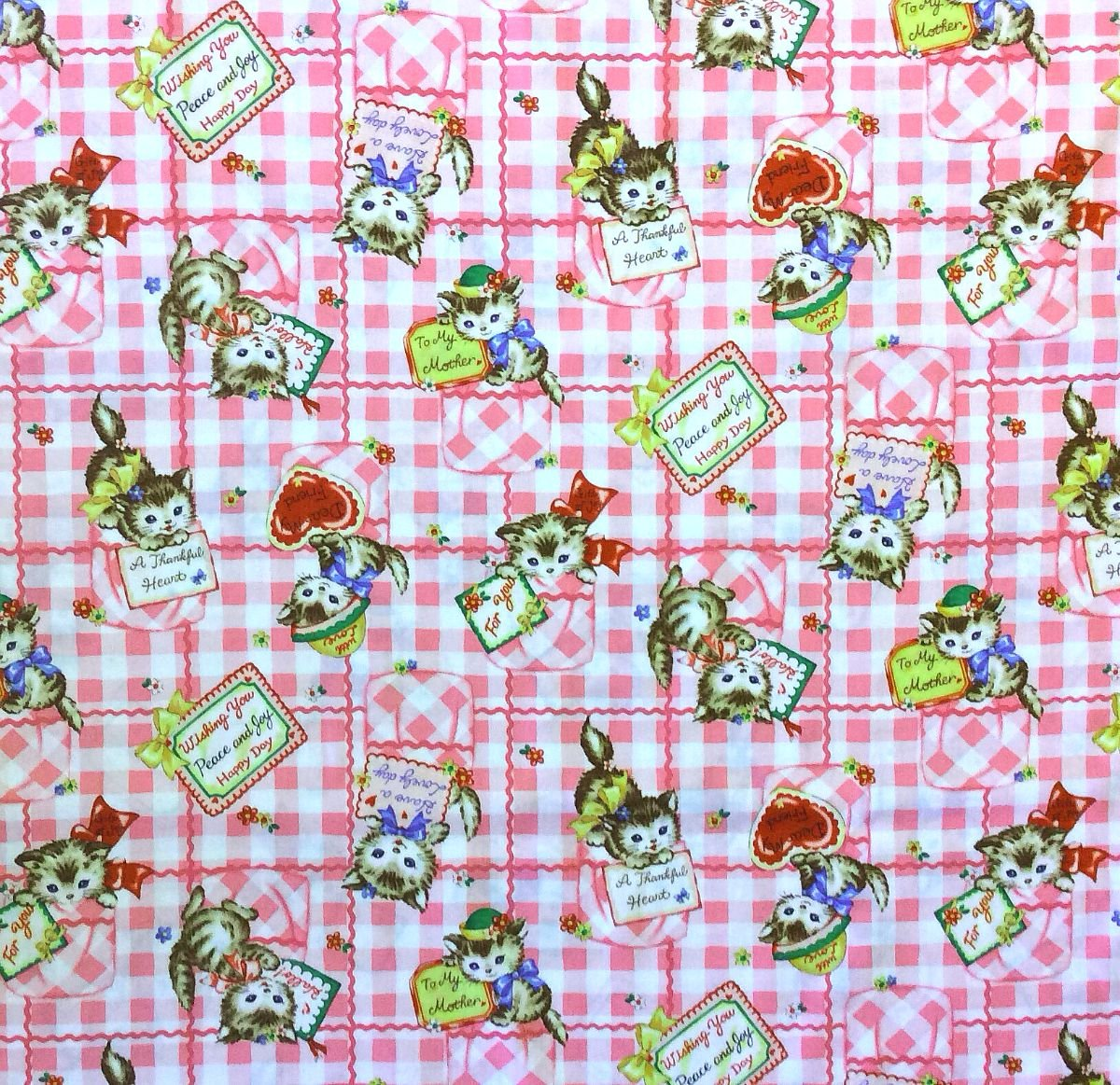 Cat Lover Cute Kitten Love Friendship Hearts Floral Quilting Cotton Fabric NT16