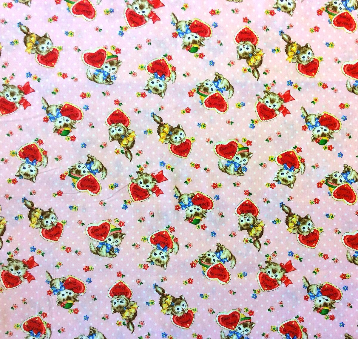 Cat Lover Cute Kitten Love Friendship Hearts Floral Quilting Cotton Fabric NT17