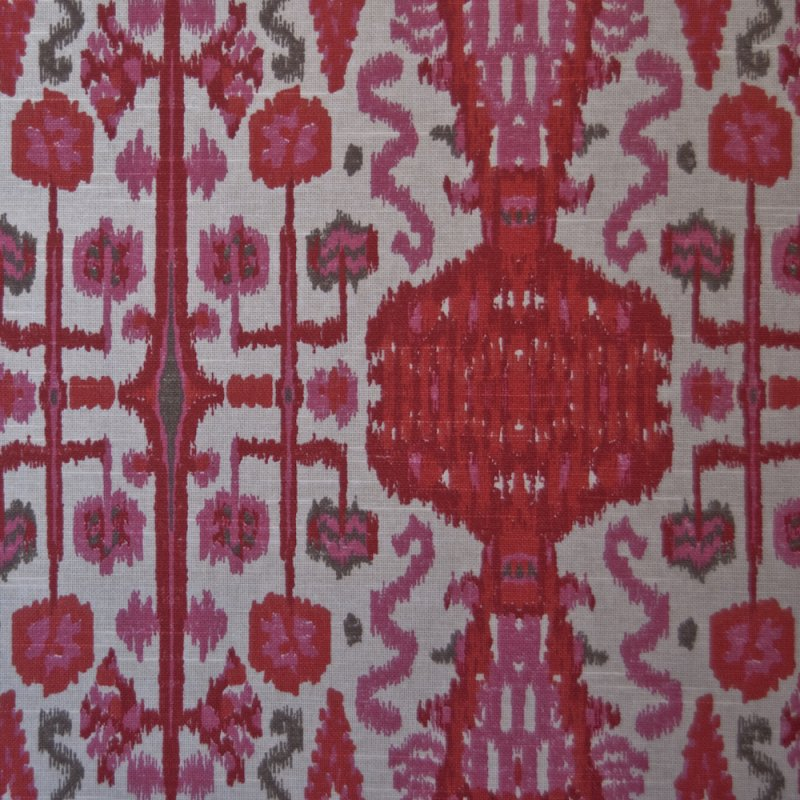 OR115 Ikat Bombay Pink Printed By the Yard Upholstery Home Decor Fabric