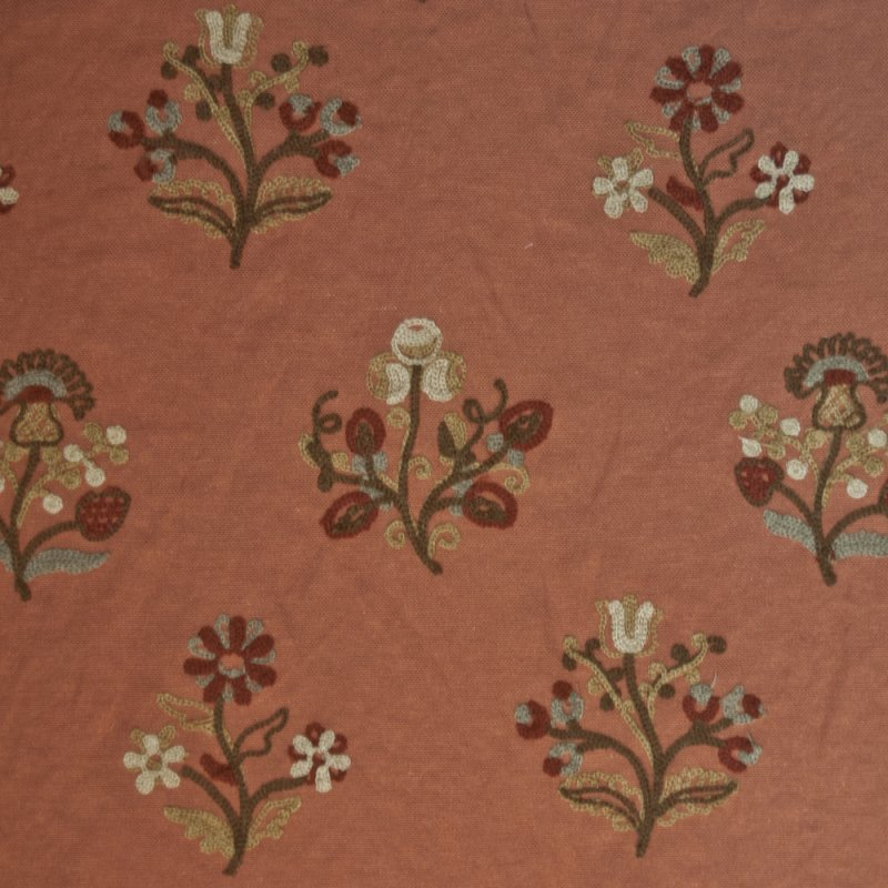 Or127 Floral Crewel Embroidered Cinnamon By The Yard Drapery Home