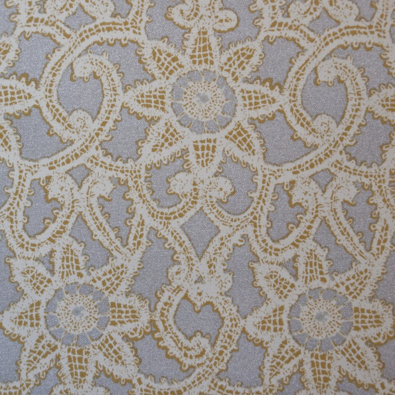 Z OR130 Metallic Silver Lace Geometric Print Drapery Upholstery Home Decor Fabric