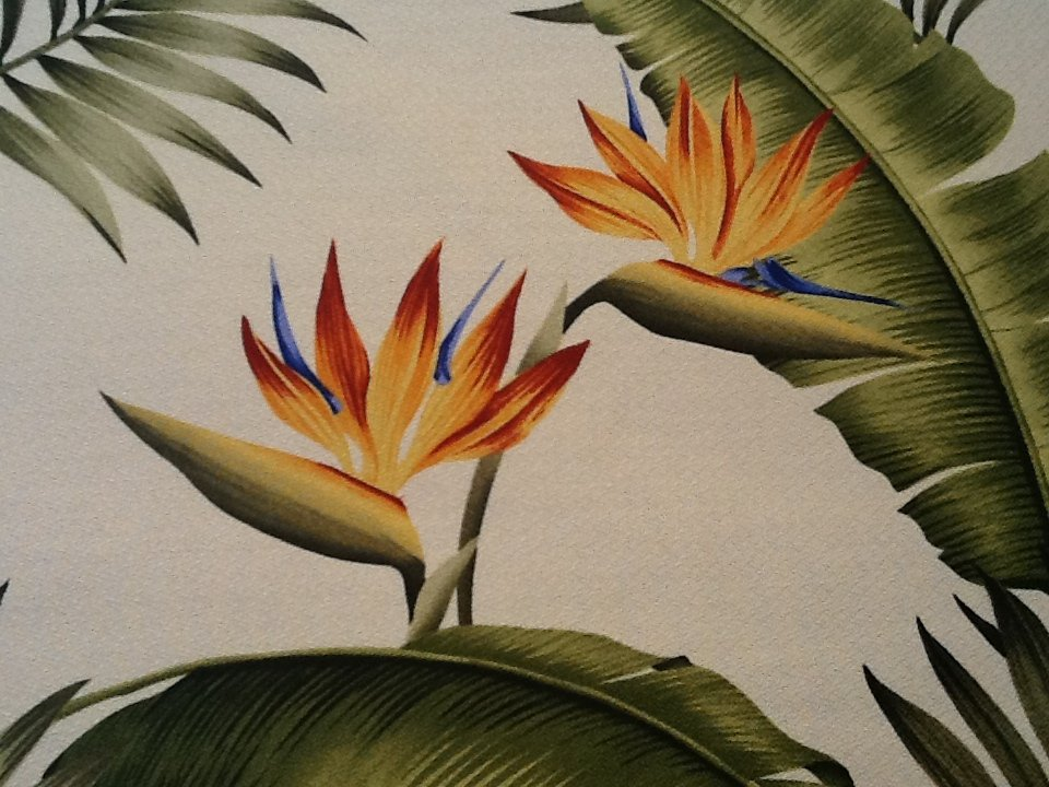 Palm leaves bird of paradise flower green orange red blue. Light cream background upholstery weight 54wide OSBK100 NR CLOSEOUT