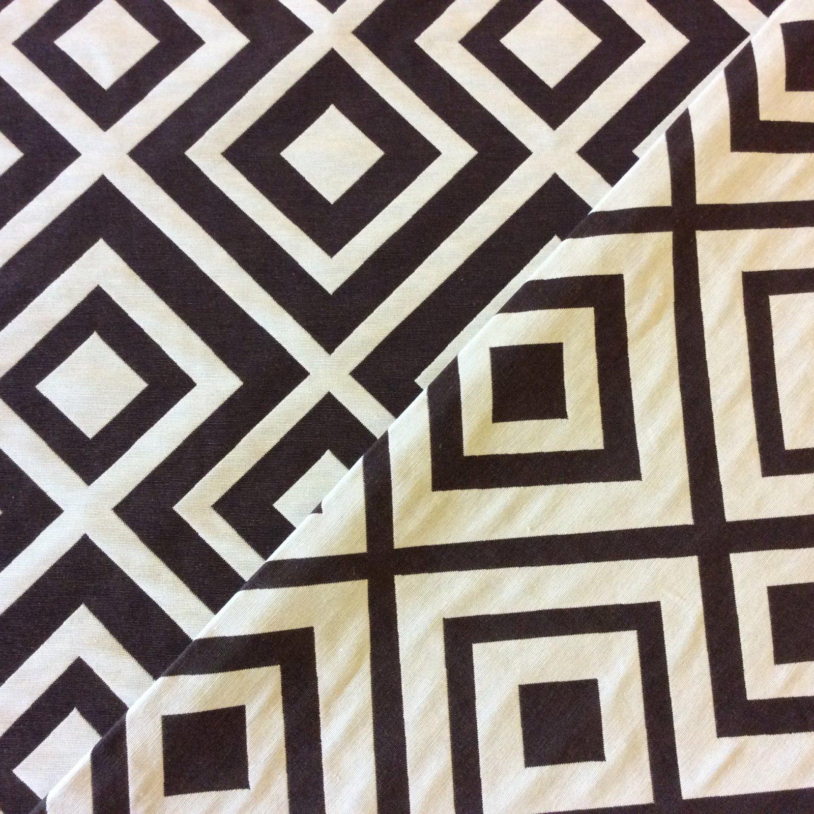 OSEPX100-A Chocolate & White Diamond Geo Geometric Upholstery Home Decor Fabric