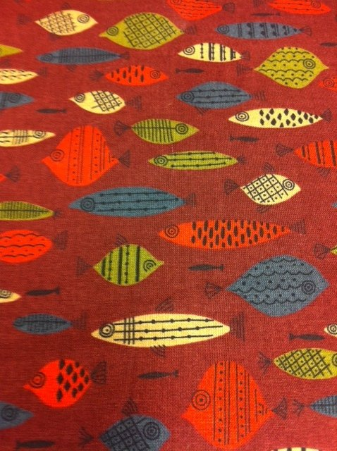 Mid Century Modern Retro Fish Brown Black Fishes Nature Funky Cotton Fabric Quilting Fabric P101