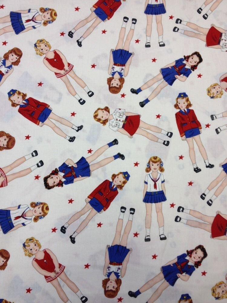 Paper Dolls Sailor Girls Karen Snyder Cotton Quilt Fabric TT01