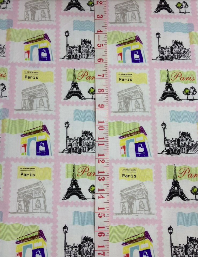Paris France Le Timbre-poste France Paris Pink Lace Print Blocks Cotton  Quilt Fabric rb14