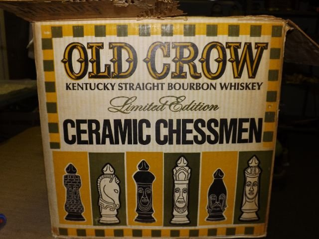 Whiskey Decanters Old Crow Limited Edition Chessmen Decanters FULL SET OF SIX