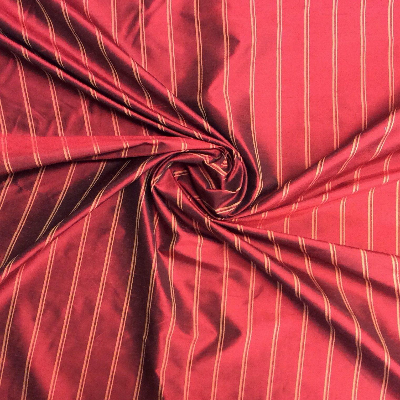 Pindler & Pindler Saumur Stripe Burgundy Gold Damask Silk Fabric PI06