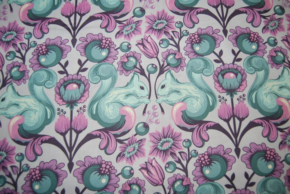 Tula Pink Birds and Bee\'s Squirrel Animal Damask Purple Blue Funky ...