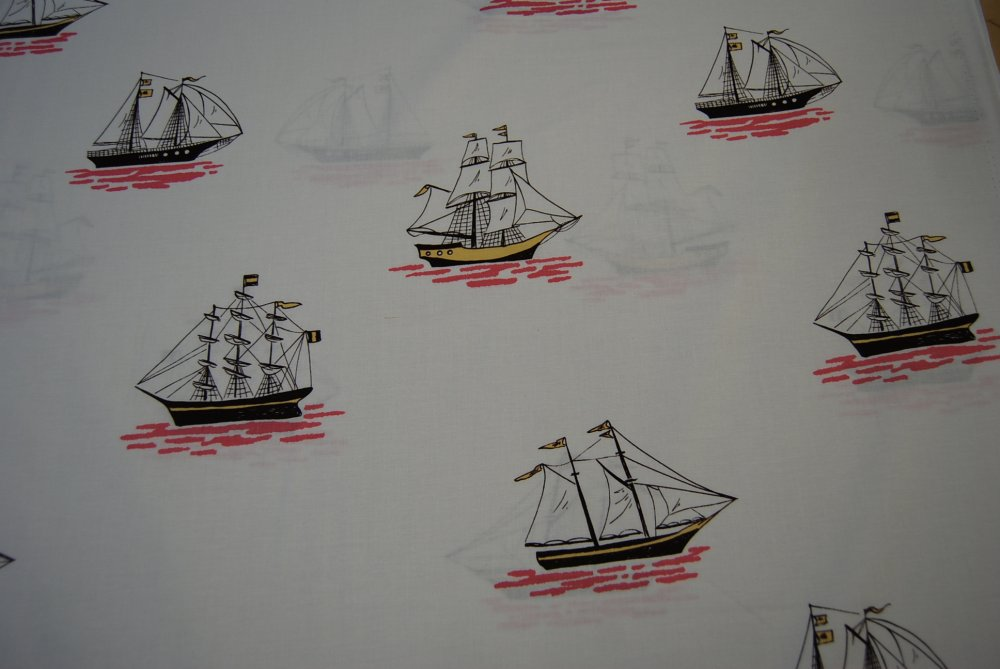 Out to Sea Sailing Sail Boats Ocean Boat Children's Cotton Quilting Fabric MM44