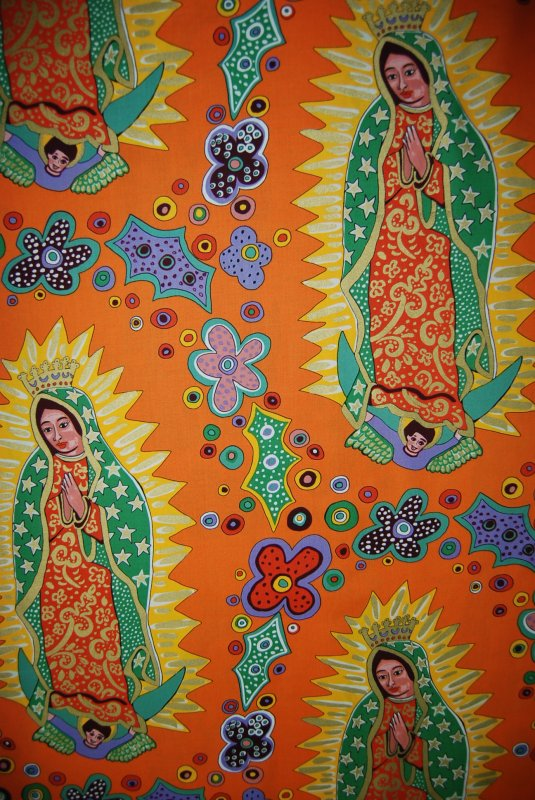 LAST PIECE! RARE OUT OF PRINT Los Sanctos by Terrie Mangat PCFF71 Light Orange Our Lady of Guadalupe Mexico Mexican Religious Flowers Cotton Fabric Quilt Fabric