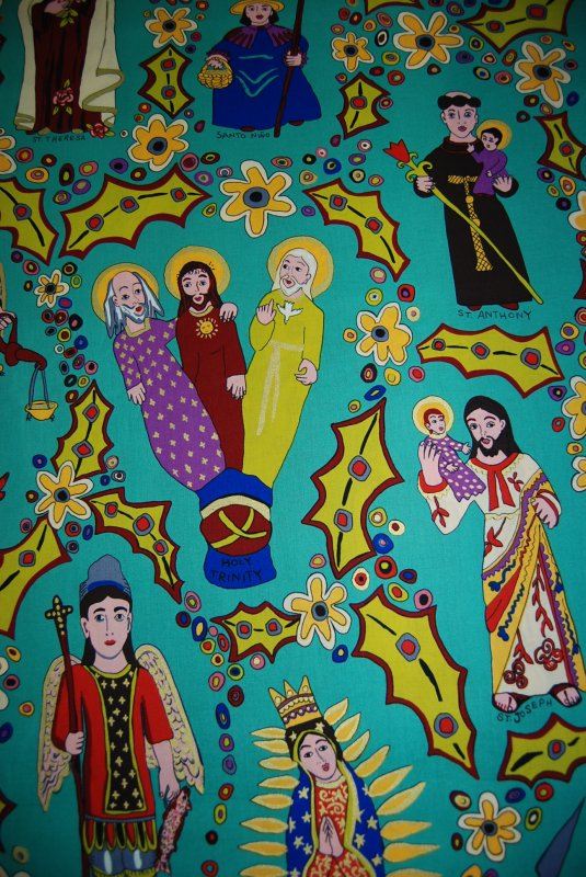 Fat Quarter! Out of Print, FQR03 Los Santos Turquoise  Mexican Religious Saints Theresa Michael Joseph Rafael Anthony Our Lady of Guadalupe Flowers Mexico Terrie Mangat Cotton Fabric Quilt Fabric