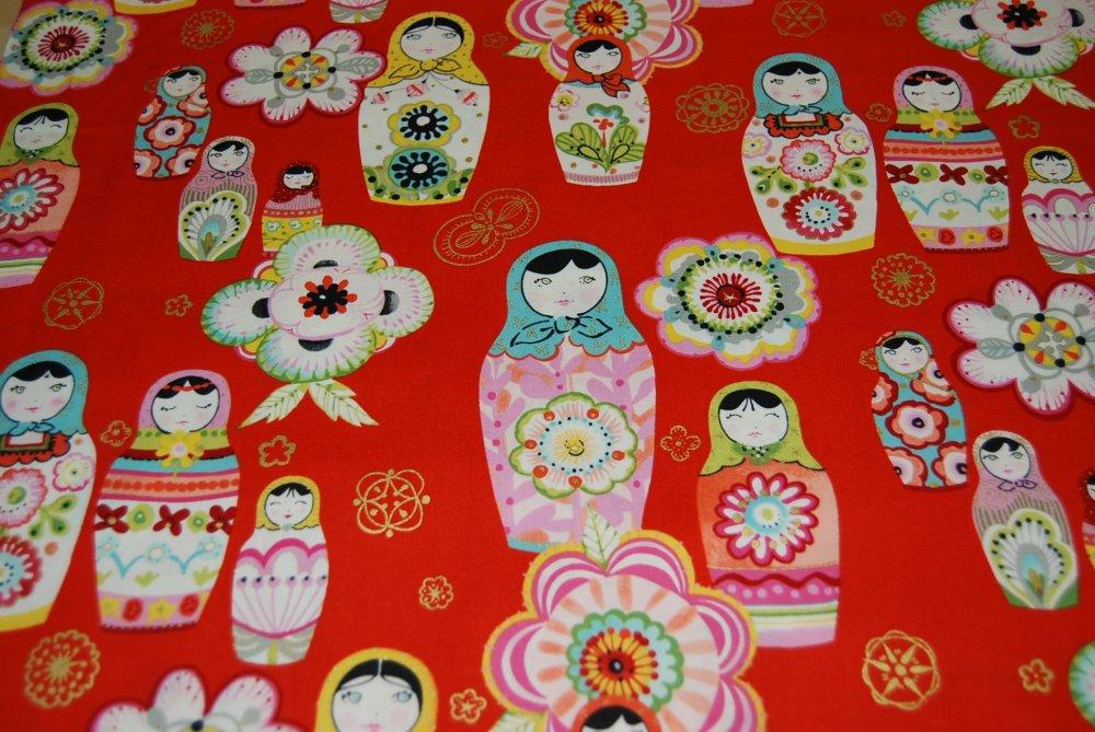Russian Nesting Dolls Matryoshka doll Retro Awesome Cotton Quilting Fabric CR112