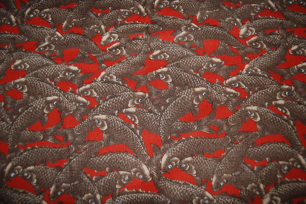Koi Fish Asian Carp Fishing Zen Japan  Cotton Fabric Quilt Fabric $10.50 per yard!  CR117