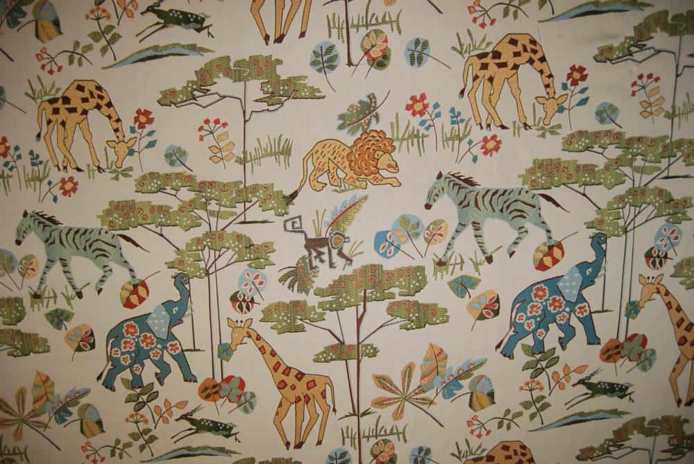 Jungle Tapestry Safari Animal Giraffe Elephant Zebra