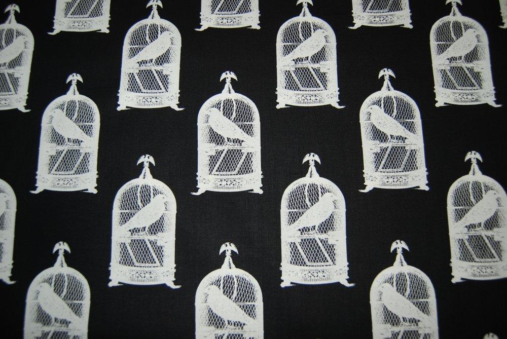 FAT QUARTER! Edgar Allen Nevermore Poe Raven Claw Bird Black Crow Spooky Halloween Goth Birdcage Black Background  Cotton Quilting Fabric RPFCR142