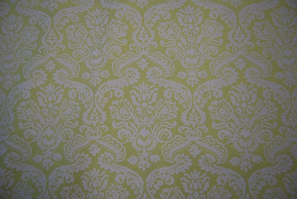 Damask Lime Green and White Citrus Neon Green Cotton Quilting Fabric E38