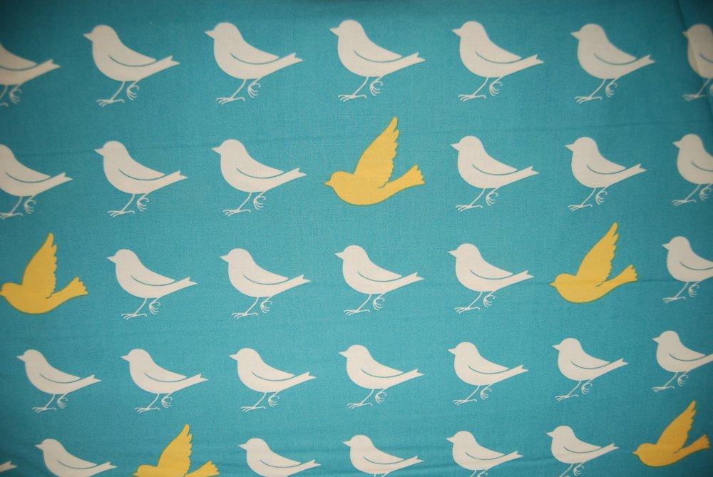 Tweet Tweet Yellow Bird Blue Background Silhouette Cotton Quilting Fabric CR168