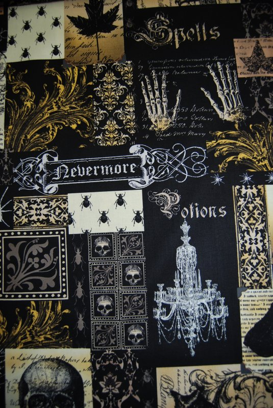 Edgar Allen Poe Nevermore Spooky Potion Dark Crow Halloween Cotton Quilting Fabric CR139