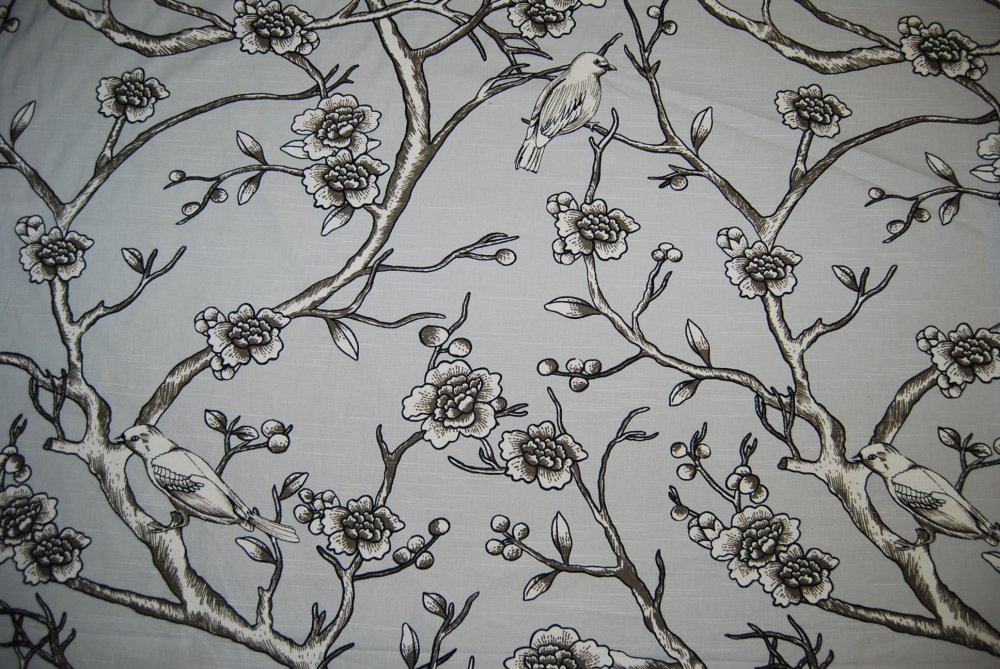 Gray and Yellow Toile Fabric