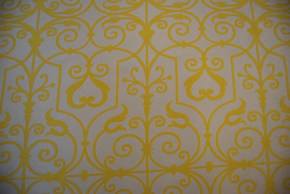 Trellis Swirl Lattice Reversible Sunny Yellow Ivory Drapery Fabric LHD160-B