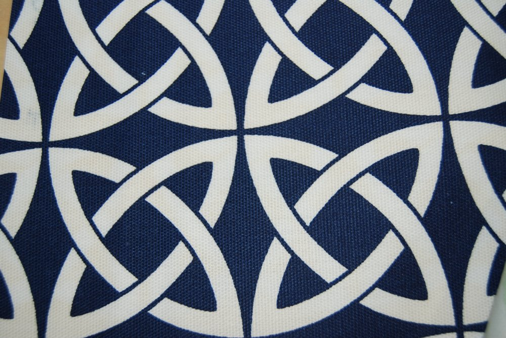 Lattice Link Navy Blue and White Geometric Famous Maker Outdoor ...
