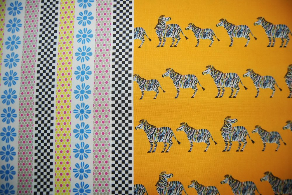 LAST PIECE 25 inches by 21 inches Echino Kokka Japanese Zebra checker Animal print Sunny Yellow Orange Cute Kawaii Cotton Quilt Fabric RPFCR193