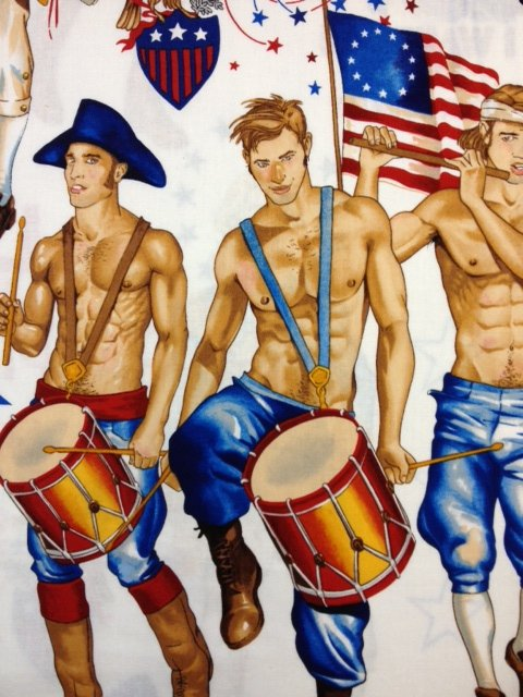 Pin Up Boys Hunks Patriotic Independence Day Red White and Blue Uncle Sam Hunks White Version Cotton Fabric Quilting Fabric AH96