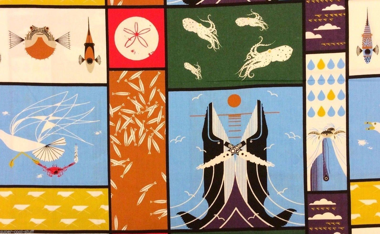 Charley Harper Whale Sea Life Birds Maritime Organic Cotton Quilt Fabric Cheater Print PNL01 CHB53