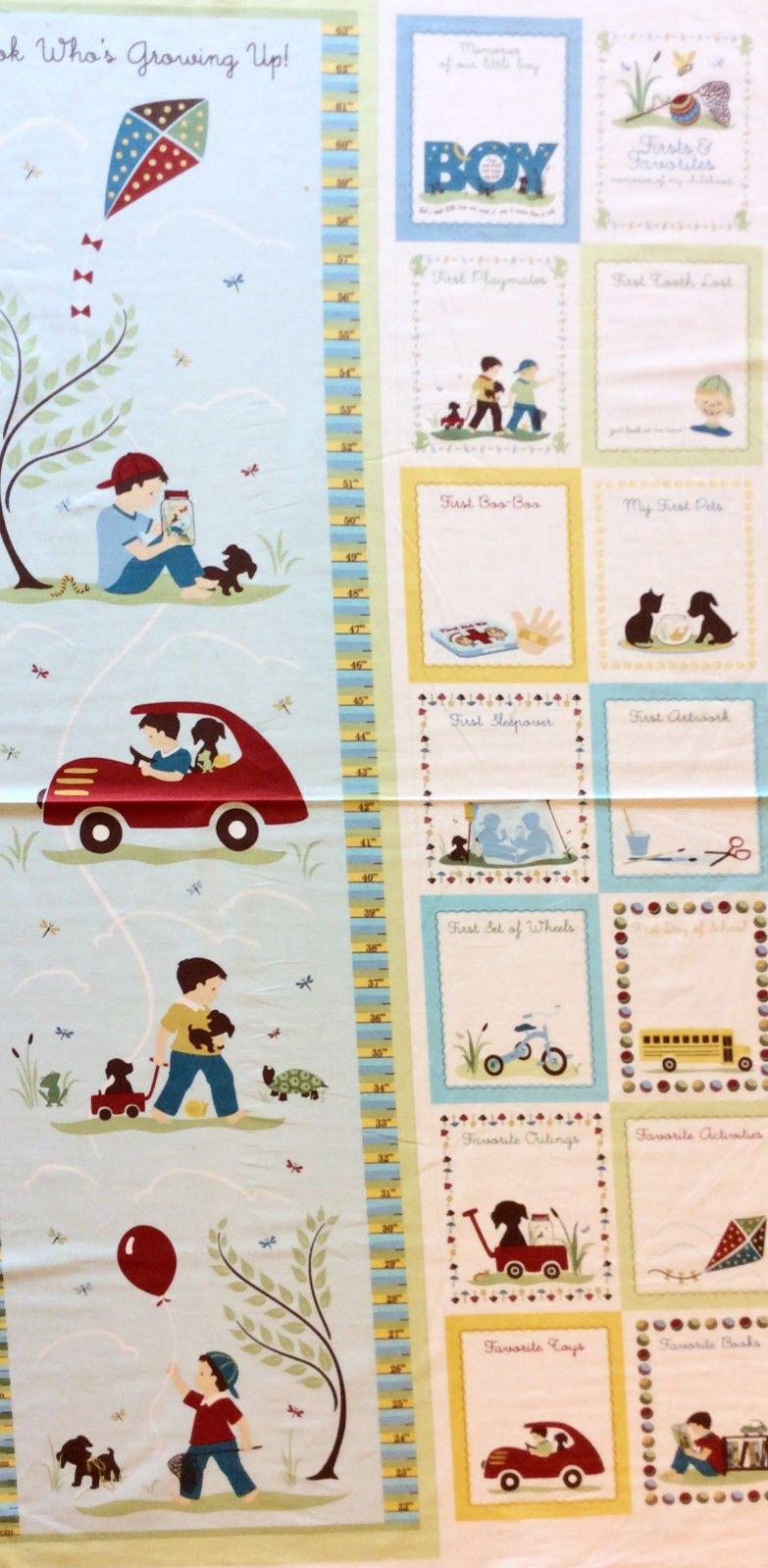 Pnl122 growth chart little boys cute kids cotton quilt fabric panel geenschuldenfo Images