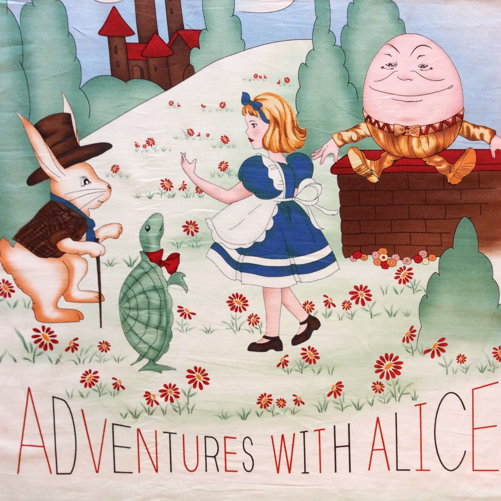 Alice in Wonderland PNL128 Rabbit Kids Humpty Dumpty Cotton Quilt Fabric Panel