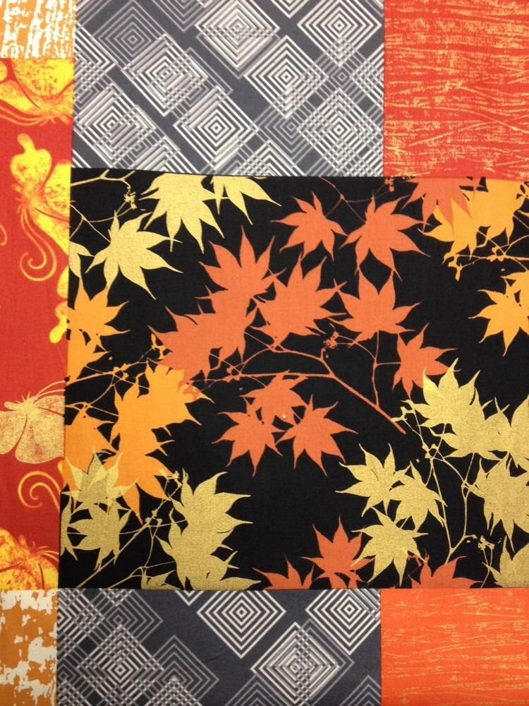 FF53 PNL139  Lonnie Rossi Asian Fall Autumn Leaves Panel Bamboo Butterflies Asia Cotton Fabric Quilting Fabric