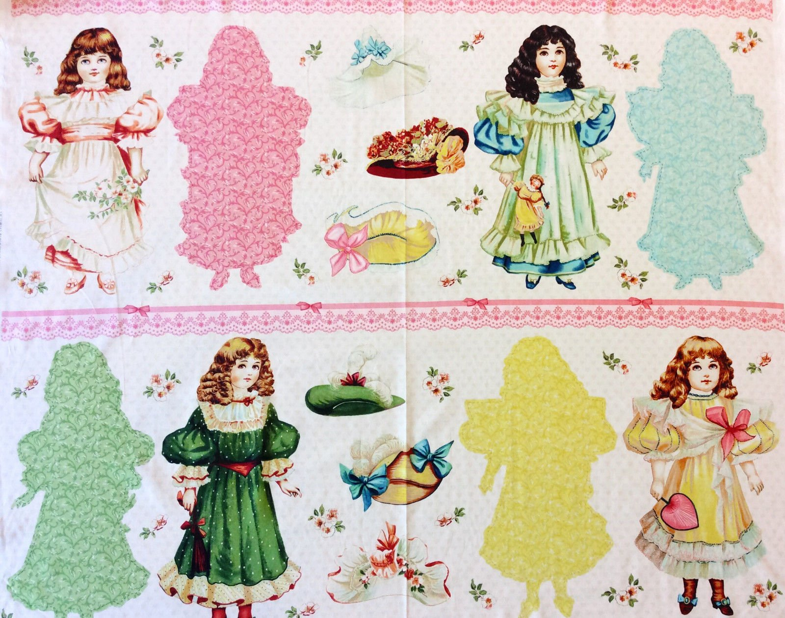 PNL145 Vintage Victorian Paper Dolls Toys Retro Cotton Fabric Quilt Fabric Panel